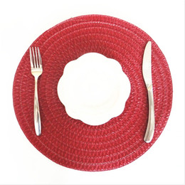 insulation prices 2018 - 2 pcs Special price to promote international popular color wine red round table mat insulation mat discount insulation p