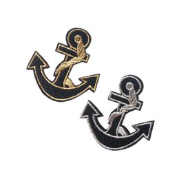 Wholesale Embroidered cloth patch cm cm Gold Silver anchor appliques Back gum Iron sewing patch T shirt jeans clothing accessories DL_CPIO005
