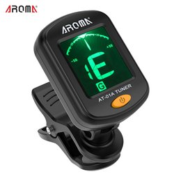 Discount display tuner - New Arrival! AROMA AT-01A Guitar Tuner Rotatable Clip-on Tuner LCD Display for Chromatic Acoustic Guitar Bass Ukulele