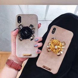 iphone6 diamond NZ - Luxury Flower Soft Leather Case for iphoneXs Xr XsMax Diamond Cover Phone Cases For iphone6 6s 6p 7 7p 8 8p X Rhinestones Case