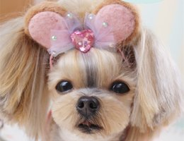 Wholesale 2018 New Dog Grooming Handmade wool felt pet headband Dog Teddy Yorkshire Maltese head flower Hair clip Hair hoop