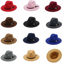 1d5583b5c81 Fashion TOP hats belt with metal ring Elegant Solid felt Fedora Hat Wide  Flat Brim Jazz Hats Trilby Panama Outdoor Caps GGA1162