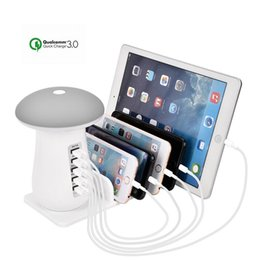 lamps for charging phones 2018 - Multi Port USB Charger Mushroom Night Lamp USB Charging Station Dock QC 3.0 Quick Charger for Mobile Phone and Tablet di