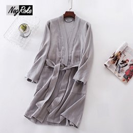 4c166a5552 Solid color 100% waffle cotton sexy bathrobes for women couples lovers robes  women summer Thin design chemise de nuit pyjama