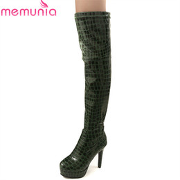 hot sexy thigh high boots UK - MEMUNIA 2018 hot sale pu over the knee boots women simple zipper sexy Super heel thigh high boots autumn winter platform shoes