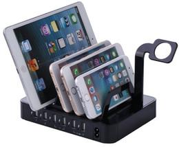 Multi port usb carregador de telefone 6 portas de carregamento rápido dock station stand holder para iphone 7 6 6 s 5 samsung xiaomi redmi iwatch lli ...