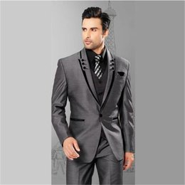 tie for grey suit NZ - Custom Made Grey Suits For Men 3 Pieces(Jacket+Pants+Vest+Tie) Terno Masculino Groom Blazer Custom Tuxedo Man Clothes
