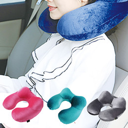 travel neck pillows for airplanes 2019 - U-Shape Travel Pillow for Airplane Inflatable Neck Pillow Travel Accessories 4Colors Comfortable Pillows for Sleep Home