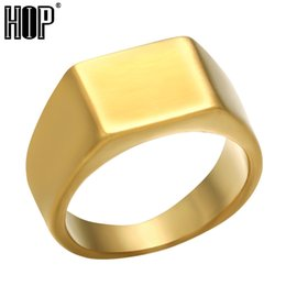 Simple Style gold ringS online shopping - Hip Hop Simple Style Colors Titanium Stainless steel Geometric Square Rings for Men jewelry US Size Bkack Silver Gold