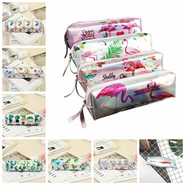 Box student pencil online shopping - Flamingo Mermaid Cactus Waterproof Makeup Bags Pencil Case PU Laser Pen Bag Student Pen Box Stationery Halloween Christmas Gifts MMA873