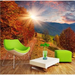 3d Large Wall Wallpaper Mural HD Deciduous Forest Sunlight Scenic Walking Park Chair Backdrop Custom Silk Photo Paper
