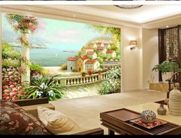 $enCountryForm.capitalKeyWord NZ - Custom Retail Landscape Oil Painting Background Wall Green Hills Green Water Romantic Small Village Surrounded By Flowers Murals