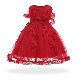 baby years birthday dresses 2019 - Free Shipping 6M-24M Infant Dresses 2018 New Arrival Red Baby Dress For 1 Year Girl Birthday Formal Toddler Princess Bal