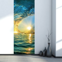 tattoo wall sticker Australia - 3D Simulation Door Stickers Sunset Sea Waves Mural Renovate Wall Decals Home Decoration Creative Self-adhesive Wallpaper Poster Door Tattoos