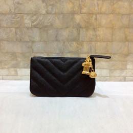 2018 أزياء المرأة محافظ الأسود الكافيار الجلود حزام عملة محفظة الكرة الكرة سلسلة معدنية حامل بطاقة حامل البومة الصغيرة مع مربع 625