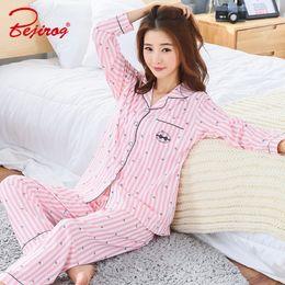 Bejirog bedgown button pajama set for women cotton sleepwear 2 piece homewear  plus size female pyjama suit in autumn pink nighty 482c01470