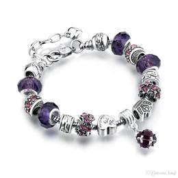 Venta al por mayor de 13 colores de moda 925 margaritas de plata cristal de Murano crystal crystal charm beads adapta pulseras del estilo pulseras del estilo 20 + 3 cm AA02