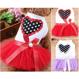 Large white dogs online shopping - Black White Dog Apparel Spring Summer Peach Heart Pattern Princess Dress Sweet Heart Bubble Skirt Cat Clothes Pet Supplies pp bb
