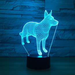 batteries usb mouse Canada - Dog 3D Optical Illusion Lamp Night Light DC 5V USB Powered 5th Battery Wholesale Dropshipping Free Shipping
