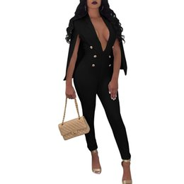 f1d4c08c8a5 NEW Cloak Trousers Rompers Womens Jumpsuit V Neck Buttons Outfits Evening  Party Overalls Full Bodysuit Bodycon Sexy Jumpsuits
