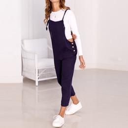$enCountryForm.capitalKeyWord Australia - 2018 Autumn Vintage Women Suspender Bib Overalls Jumpsuit Harem Pants Long Playsuit Solid Casual Loose Buttons Combinaison Femme