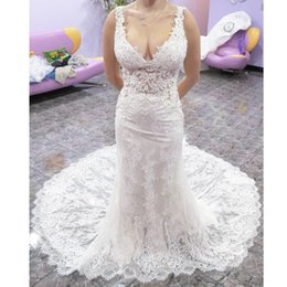 $enCountryForm.capitalKeyWord NZ - Stunning Detachable Train Lace Wedding Dresses Illusion Top Court Train Sequined Chapel Wedding Gown Tulle Overskirt Bridal Dress
