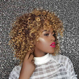 synthetic afro hair sale NZ - Blonde Mixed Brown Synthetic Wigs Afro Kinky Curly Wigs High Temperature Heat Resistance Fiber Synthetic Hair For Sale