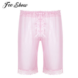 Chinese  Fashionable Mens Sissy Fashion Lingerie See Through Mesh Short Pants Sheer Soft Lace Cute Bowknot Lightweight Loose Shorts Pants manufacturers