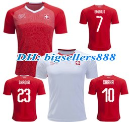 b9b89633e TOP QUALITY Switzerland 2018 World Cup away home red soccer jersey XHAKA  SHAQIRI EMBOLO RODRIGUEZ 18 19 national team football shirts