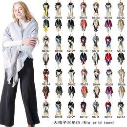 Camouflage shawls online shopping - Trangle Plaid Scarf Women Winter Cashmere Shawl big grid towel Pashmina Scarves lattices Cape wraps Triangular Shawls for Christmas Gift HOT