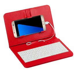 Mini tablets online shopping - Mini Wired Keyboard Bluetooth Wireless Keyboard Flip Holster Case For Mobile Phone Tablet