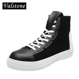 Valstone Hip Hop shoes Men leather casual shoes 2018 spring fashion sneakers  white high tops Male black Vulcanized zipper 8e82e775fb8a