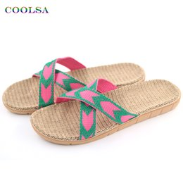 Slide Shoes Ladies Canada - Hot New Summer Women Linen Slippers Brand Quality Flat Ribbon Non-Slip Indoor Flax Slides Home Sandals Lady Ethnic Beach Shoes
