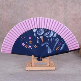 $enCountryForm.capitalKeyWord NZ - Handmade Inkjet Silk Hand Fan for Women Wedding Favor Fan Bamboo Japanese Folding Hand Fans Flowers Crafts Gift 1pcs