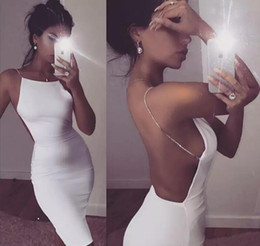 Discount white sequin bodycon dresses - Hot sale sexy dress 2 color solid black white summer dresses slash neck sequin chain knee length bodycon backless dress