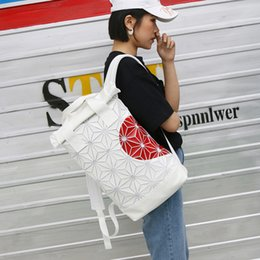 Shoulder Straps Backpack NZ - Fashion trend 3D Roll Top white Ash Pearl Backpack with red heart adjustable padded shoulder straps main zip compartment 5pcs