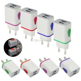 Discount light wall charger dual usb - LED Dual USB Port Wall Charger Light Up Water-drop Home Travel Power Adapter 5V 3.1A AC Cellphone Chargers For iPhone Sa