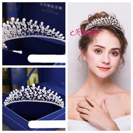 Discount white roses flower crown - New high-grade exquisite full zircon pearl flowers and branches crown   bridal tiara wedding accessories   shop to choos