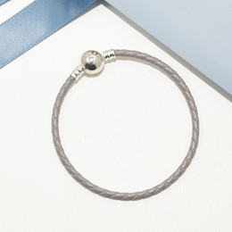 Discount 925 sterling silver mens - Luxury Brand Mens Jewelry Gray Leather Rope Hand Chain Bracelet Logo Original box for Pandora 925 Sterling Silver Charms