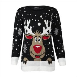 61a7d604ba Women Christmas Deer Warm Knitted Sweaters Long Sleeve Knitted Sweater Ugly  Christmas Jumper Top O-Neck Casual Sweaters