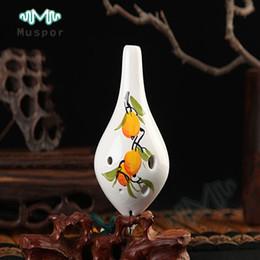 Discount ocarina alto - 6 Hole Ocarina of Time Ceramic Alto C Flute Fruits Instrument Top Quality