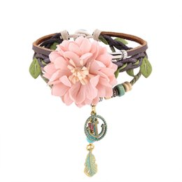 anchor hand bracelet 2019 - Fashion Jewelry Multi-layer Hand Braided Leather Flower Bracelet Bangle Anchor Charms Simple Wild Bracelets For Bridemai