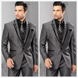 Classic Wool Jacket Canada - Hot Sale Classic Charcoal 3 Piece Suit Peak Lapel One Button Men Wedding Tuxedos Men Business Prom Dinner Blazer(Jacket+Pants+Tie+Vest) 452