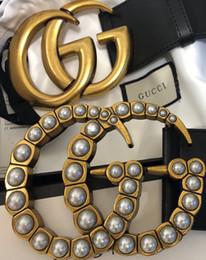 size7.0 con cajas 2018 TOP mujeres de los hombres Cinturón de cuero de alta calidad Negro de cuero de los hombres Cinturón de lujo de los hombres Pearl LOGO Envío gratis en venta