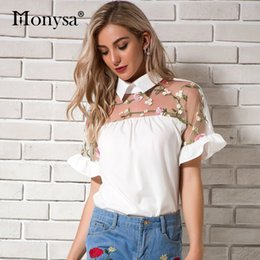 Women's Clothing Women Spring Summer Cute Chiffon Blouses Shirts Lady Casual Peter Pan Collar Short Sleeve Beading Blusas Tops Df1797