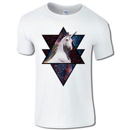 Triangle Color Cartoon UK - Men's T-Shirt Unicorn In Space Triangle Hipster Galaxy Cosmic Cartoon t shirt men Unisex New Fashion