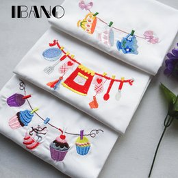 embroidered cloth NZ - 2pcs lot Cotton Christmas Wedding Napkin Dish Towel Cleaning Cloth 45x70cm Towel Embroidered durable pano de prato Wholesale