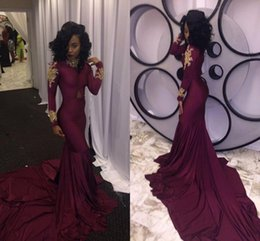 $enCountryForm.capitalKeyWord Canada - Wine Red Mermaid Prom Dresses Sexy South African Gold Appliques Burgundy Long Formal Evening Party Gowns Custom Made Plus Size HY216