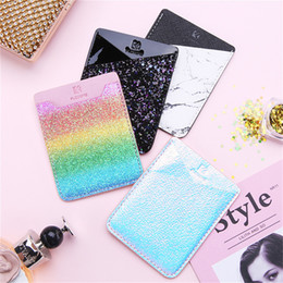 Back glitter iphone sticker online shopping - Universal Diamond Glitter Back Phone Card Slot Sticker Colorful PU Leather Wallet Case Card Holder For Samsung Note iPhone X OPP