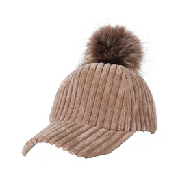 8bffd245d09 New Corduroy Baseball Cap With Faux Fur Pompon Suede Hat Winter Warm Women  Baseball Caps Casual Fashion Hip Hop Snapback Hats